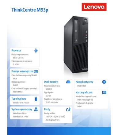 Lenovo ThinkCentre M93p SFF Desktop Win7Pro & Win8.1Pro i5-4590/4GB/500GB SSHD 8GB/Integrated/DVD-RW/SFF 240W 85%/3 Years OnSite