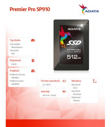 Adata SSD Premier Pro SP910 512GB 2.5'' S3 Marvell 88S9187 560/460 MB/s