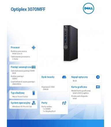 Dell Komputer Optiplex 3070 MFF W10Pro i3-9100T/8GB/256GB SSD/Intel UHD 630/WLAN + BT/KB216 & MS116/3Y BWOS
