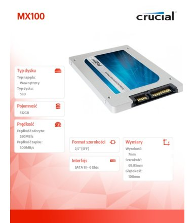 Crucial MX100 512GB SATA3 2.5 550/500 MB/s 7mm