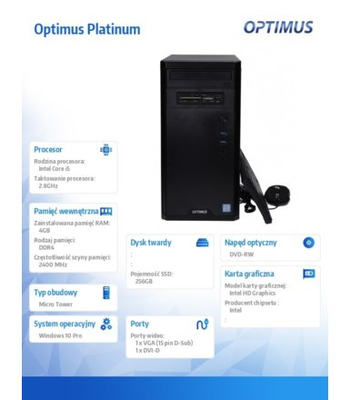 OPTIMUS Platinum MH310T i5-8400/4GB/240GB/W10Pro