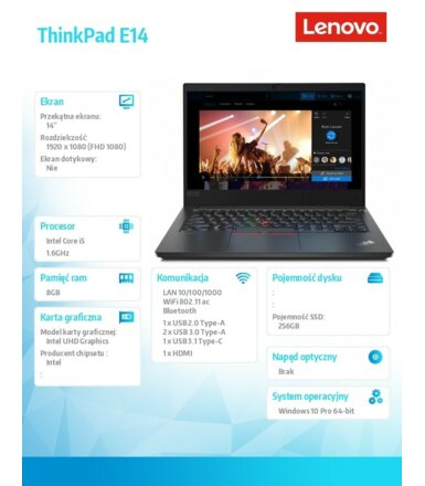 Lenovo Laptop ThinkPad E14 20RA001DPB W10Pro i5-10210U/16GB/256GB/INT/14.0 FHD/Black/1YR CI