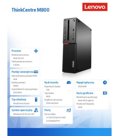 Lenovo ThinkCentre M800 SFF 10FX0011PB W10Pro i5-6500/4GB/1TB/Integrated/DVD/3YRS OS