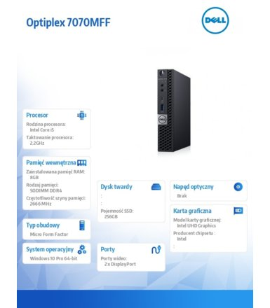 Dell Komputer Optiplex 7070 MFF W10Pro i5-9500T/8GB/256GB SSD/Intel UHD 630/WLAN + BT/KB216 & MS116/3Y BWOS