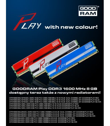 GOODRAM DDR3 PLAY 8GB/1600 Srebrny