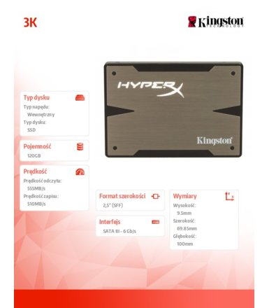 "Kingston HyperX 3K SERIES 120GB SATA3 2,5""+adapter 3,5"" 555/510MB/s 9,5mm"