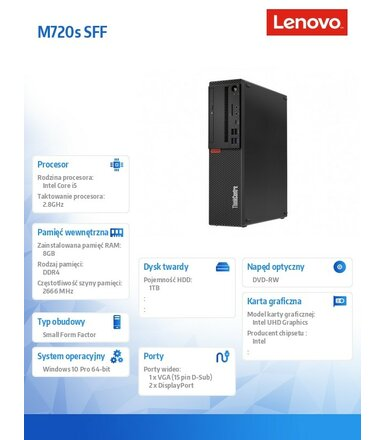 Lenovo Desktop ThinkCentre M720s SFF 10ST004QPB W10Pro i5-8400/8GB/1TB/INT/DVD/3YRS OS