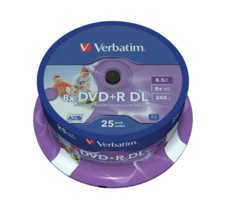 Verbatim DVD+R  (8x) 8,5GB DoubleLayer CB 25  PRINTABLE  43667