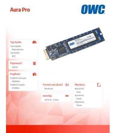 OWC Aura Pro SSD 120GB Macbook Air 2010/2011 285-500MB/s 50k IOPS