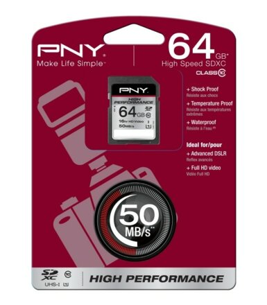 PNY SDXC 64GB CLASS10 UHS-1 HIGH PERFORMANCE 50MB/s