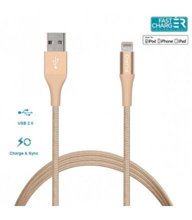 PURO Kabel MFi z Lightning + klips + Aluminum Connector 1m (Gold)