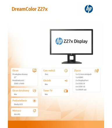 HP Inc. 27'' Z27x DreamColor  IPS LED Display  D7R00A4