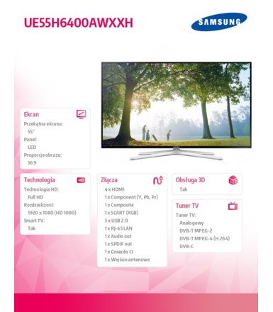 Samsung 55'' TV LED Slim Full HD UE55H6400AWXXH
