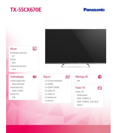 Panasonic  55'' LED              TX-55CX670E